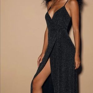 LULU's celestial black maxi wrap dress - sz s